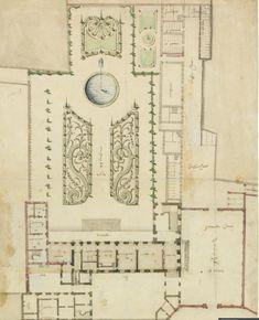 Paris, hôtel de Guise-Soubise: plan du rez-de-chaussée d'un premier projet. Paris, Vintage World Maps, Floor Plans, How To Plan, Inspiration, Garden, House, Palaces, Castles