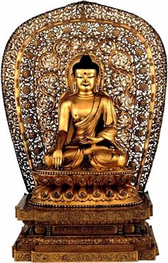 Gilt-bronze figure of Shakyamuni – China, 1403-24 AD, 50cm high. This important image of the historical Buddha, Shakyamuni, displays the integration of Chinese and Tibetan Buddhist art in both its intricate design and metal-casting technique. It is one of the largest and most ornate Sino-Tibetan bronzes surviving from the early fifteenth century.
