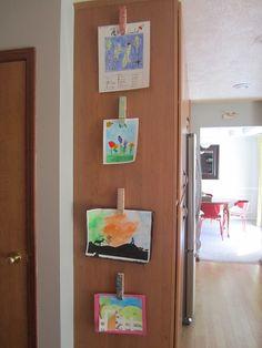 Cool way to display kid's art...diy