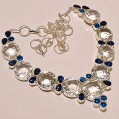 """98 GMS FACETED WHITE TOPAZ WITH LONDON BLUE TOPAZ .925 SILVER NECKLACE 18""""  #Handmade #Pendant"""