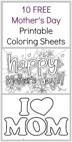 Free Mother's day coloring pages - Mothers Day coloring sheets Mom's love homemade art work. Here are 10 free Mother's Day Coloring Sheets - Coupon Closet Mothers Day Crafts For Kids, Fathers Day Crafts, Mothers Day Cards, Mother Day Gifts, Happy Mothers Day, Mothers Day Coloring Sheets, Mother's Day Colors, Mother's Day Printables, Mother's Day Projects