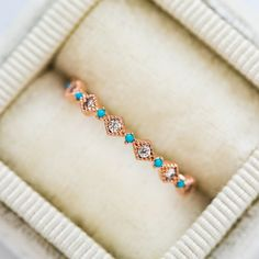 Turquoise Wedding Jewelry, Turquoise Rings, Turquoise Glass, Western Wedding Rings, Stacked Wedding Bands, Rustic Wedding, Diamond Simulant, Diamond Wedding Rings, Rose Gold Plates