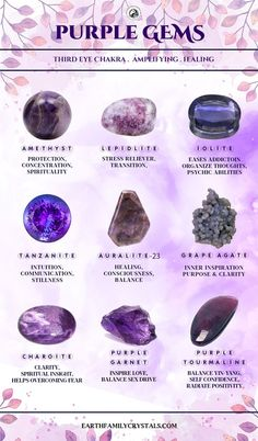 Top purple Gems and their properties - Crystal Guide, Crystal Magic, Crystal Healing Stones, Stones And Crystals, Gem Stones, Amethyst Crystal, Minerals And Gemstones, Crystals Minerals, Rocks And Minerals