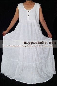 445ac654b46 No.459 - Plus Size White Cotton Maxi Long Dress Bohemian Summer Clothing  Tiered Full Length Women s Dress Hippie Boho Gypsy Style