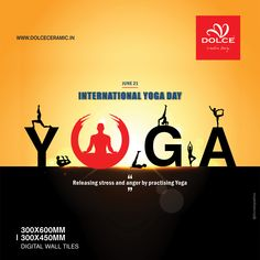 """""""Releasing stress and anger by practicing Yoga"""" International Yoga Day __ June International Yoga Day, Digital Wall, Yoga Everyday, 3d Wall, Special Day, Festivals, June, Stress, 21st"""