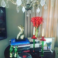 Bromélia só as flores cortadas olha como ficaram lindas na minha mesa lateral ! Vermelho claro curtindo a casa e as cores do Natal.