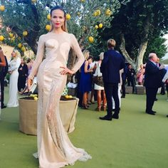 Natasha Poly in a Versace gown and slicked hair hair at the St Tropez Gala Leonardo Dicaprio Foundation, Irina Sheyk, Versace Gown, Natasha Poly, Slick Hairstyles, Nice Dresses, Formal Dresses, Russian Models, Model Agency