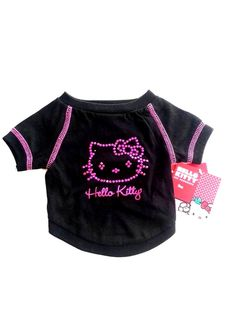 """XS SM CUTE New"""" HELLO KITTY"""" Black w Pink Bling Dog Shirt Pet Dress Dog Clothes need these for my yorkie girls!!!!"""