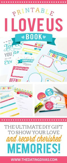 I Love Us Book - printable. Show love and record cherished memories with this printable I Love Us Book from Dating Divas {affiliate} Great gift idea for anniversary, valentine's day, or just because My Funny Valentine, Valentine Day Crafts, Presents For Boyfriend, Gifts For Husband, Boyfriend Gifts, Dating Divas, Diy Gifts For Men, Gifts For Him, Unique Gifts
