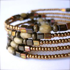 Memory Wire Bracelet  Bronze and Brown  Glass by PaganucciDesigns, $18.00