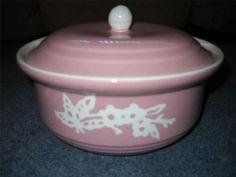 "Vintage Pink Harker Pottery Cameo Ware Dainty Flower 8.5"" Art Deco Casserole"