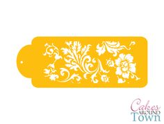 This pattern measures 4.5H x 10.5W. It is recommended for use with hot fondant, royal icing or melted chocola