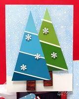 Paint Chip Tree Cards - (Diagonal cut looks more like garland) 3d Christmas, Homemade Christmas Cards, Christmas Tree Cards, Homemade Cards, Handmade Christmas, Christmas Decorations, Xmas Trees, Christmas Greetings, Christmas Ornaments