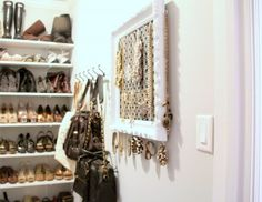 I want a closet like this!  From the shoe shelves, to purse hanging, and that amazing jewelry organizer made from a vintage picture frame!  WOW!