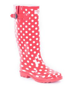Red Polka Dot Rain Boot
