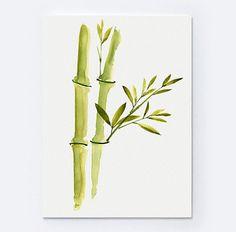 Pintura acuarela de bambú dos tallos de bambú de la suerte