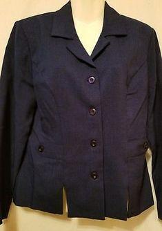 2 pc Dress Pant Career Suit Blazer Womens Size 8 Blue Dress Jacket Sag Harbor