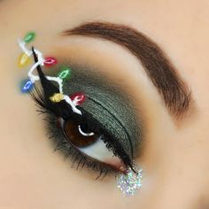 Christmas lights eye makeup