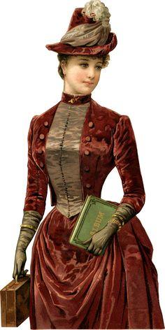Victorian Lady with Album Scrap Victorian Art, Victorian Women, Victorian Fashion, Vintage Fashion, Vintage Ephemera, Vintage Postcards, Vintage Pictures, Vintage Images, Vintage Prints
