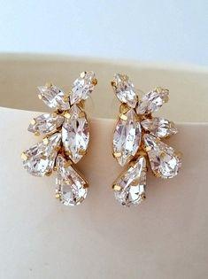 White clear diamond crystal Statement stud by EldorTinaJewelry