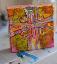 mixed media cross by susanmannstudios on Etsy 7th Grade Art, Altered Canvas, Christian Art, Christian Paintings, Cross Art, Mini Canvas Art, Cross Paintings, Mixed Media Canvas, Art Tutorials