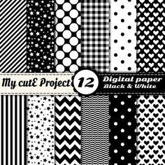 Papier digital - Noir et Blanc - Scrapbooking & graphisme - 12x12 - A4 - Pois, chevron, coeur, vichy, rayures