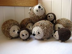 Hedgehogs galore! Great way to use up small bits of leftover yarns and to delight child or adult. For sale on Ravelry.