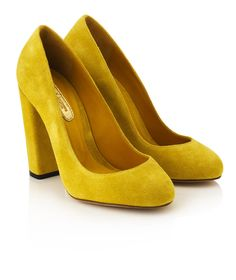 633325c38492 Beautiful yellow suede rounded toe suede courts with a blocked heel for  style and comfort by