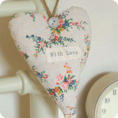 Vintage looking fabric heart
