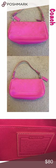 $25 deal Coach Signature Demi Pouch. Color: Hot Pink. Design: Signature C. Brand: Coach. I purchased this bag in 2006 at the Coach store, so this collection is vintage now. Measurements: 8 x 5 x 2. The authentication tag and serial number are shown in photo three. It includes a dust bag, there is a small stain on it as shown. It is a little bent in on the sides as shown in photos. Coach Bags Shoulder Bags
