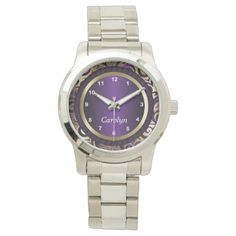 Personalize Purple and Gold Abstract Design Wrist Watch - metal style gift ideas unique diy personalize