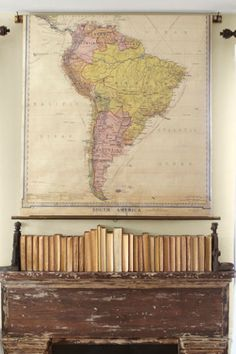 The distressed mantel in this Washington home was discovered on eBay, as was the old map that hangs above.