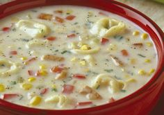 Our Tortellini Corn Chowder is creamy and comforting!