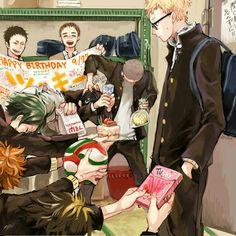 Look at kageyama and his milk Haikyuu! Manga Haikyuu, Haikyuu Tsukishima, Haikyuu Fanart, Kuroo, Kenma, Haikyuu Volleyball, Volleyball Anime, Kagehina, Hinata
