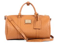 84c96d3bc5ca The Bahge Brown Ostrich Leather Duffel Bag is timelessly elegant and  distinctly modern.