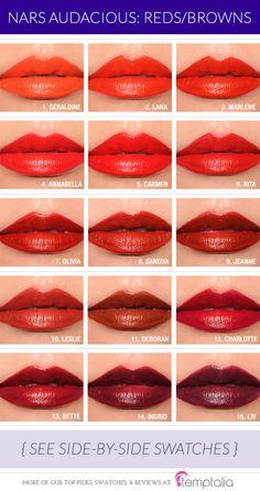 Round-up: NARS Audacious Lipstick Overview & Thoughts NARS Audacious Lipstick Comparisons ~ Reds/Browns, Pinks, Corals, Muted Love Makeup, Makeup Looks, Makeup Tips, Make Up Ojos, Bobbi Brown, Lipstick For Fair Skin, Lipstick Designs, Lipstick Tutorial, Makeup Swatches