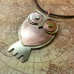 Hand Crafted Copper And Brass Owl Pendant by gomeowart on Etsy