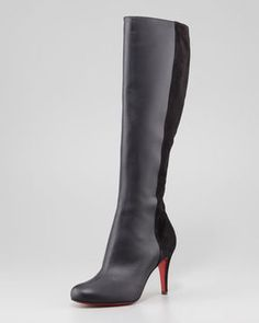 Christian Louboutin Acheval Suede-Back Knee Boot, Black on shopstyle.com