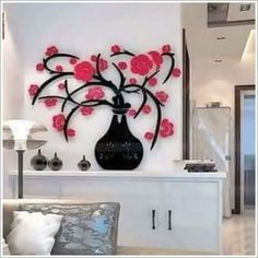 2015 Special Offer Cheap Vase Wintersweet Wall Stickers Plum Blossom Diy Removable Vinyl Adhesive Wallpaper Wallsticker * Shop 4 Xmas n Locate this beautiful piece simply by clicking the image. 3d Wall Decor, Wall Stickers Home Decor, Cheap Home Decor Stores, Home Decor Items, Wall Decor Arrangements, Plum Living Rooms, 3d Wanddekor, Elegant Sofa, Vinyl Wall Art
