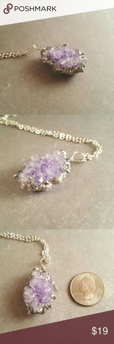 """Crystal necklace Light purple homemade, hand painted crystal with silver leaf details. Comes with 24"""" chain but can easily be used with any chains. Very lightweight. Crystal is about 1 3/4"""" including loop. Jewelry Necklaces"""