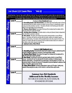 This is a lesson plan template for the LLI Blue Kit. The template includes essential questions, basic procedures for even & odd numbered lessons, and common core ELA standards. There's no need to reinvent the wheel weekly. Add the number lesson you're on for each day and jot down who's being assessed and you're ready to go!