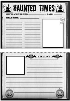 Haunted House Template | Halloween Newspaper Creative Writing Templates, Worksheets, and Lesson ...