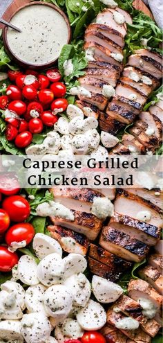 Caprese Grilled Chicken Salad with Creamy Pesto Dressing Caprese Grilled Chicken Salad is a quick and easy main dish salad that's perfect for summer! You'll love the addition of the grilled balsamic marinated chicken and the creamy pesto dressing! Caprese Chicken, Grilled Chicken Salad, Chicken Salad Recipes, Marinated Chicken, Sides For Grilled Chicken, Salad With Chicken, Chicken Salads, Balsamic Chicken, Crusted Chicken