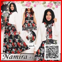 baju gamis maxi dress namira flower modern MGS34