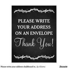 What To Write On Wedding Gift Card Envelope : write your address chalkboard wedding sign poster chalkboard wedding ...