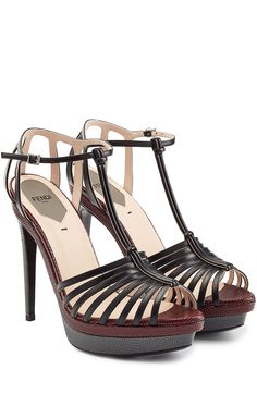 b37c618f966b Contrasting smooth leather with tactile embossed leather details, these  platform sandals from Fendi are a