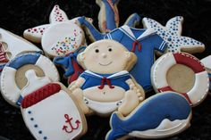 Sailor baby shower cookies custom cookies von 4theloveofcookies