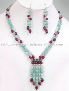 Source 2 strands emerald ruby Designer Gemstone Necklace/Gurgaon Delhi on…