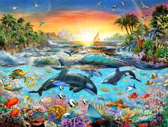 Adrian Chesterman Digital Art - Orca Paradise by MGL Meiklejohn Graphics Licensing Ravensburger Puzzle, Paradise Wallpaper, Underwater Art, Wale, Orcas, Ocean Life, Diy Painting, Dolphins, Canvas Frame