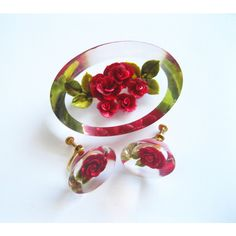 Reverse Carved Lucite Red Rose Brooch and Earrings Vintage ($15) found on Polyvore featuring women's fashion and jewelry